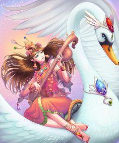 Saraswati Devi 719 by t-rob Shiva Art, Krishna Art, Hindu Art, Lord Krishna, Lord Shiva, Indian Goddess, Goddess Art, Saraswati Painting, Saraswati Goddess
