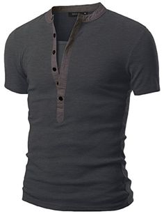 Doublju Mens Henley T-shirts with Short Sleeve at Amazon Men s Clothing  store  29024451112
