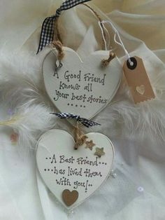 Best Friend GIFT double heart plaque shabby chic  keepsake personalised