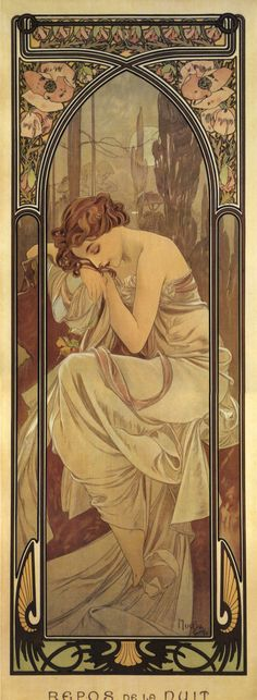 """Night's Rest"" from Alphonse Mucha's 'Time of Day' Series. 1899. 'Repos de la Nuit'. http://muchafoundation.org/gallery/themes/theme/art-posters/object/278"