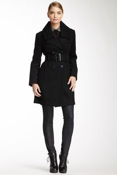 Blanc Noir Runway New York Double Breasted Button Wool Blend Coat
