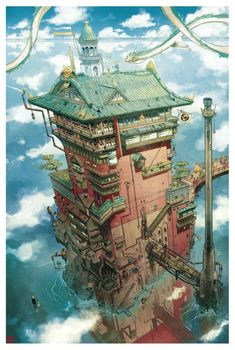 Spirited Away: The Bath House by Mathieu Bablet : ghibli Studio Ghibli Films, Art Studio Ghibli, Aesthetic Art, Aesthetic Anime, Fantasy World, Fantasy Art, Personajes Studio Ghibli, Chihiro Y Haku, Casa Anime