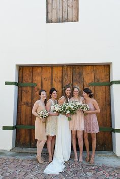 Cream, blush and peach rustic wedding. Bridesmaids in different shade and styles of dresses Wedding Bridesmaids, Bridesmaid Dresses, Wedding Dresses, Cream Blush, Maybe One Day, Cowboy Boots, Rustic Wedding, Fashion Dresses, Peach