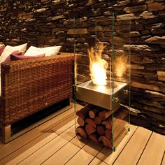 Elegant EcoSmart Fire....made of tough glass and stainless steel.