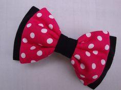 Handmade Hair Bow - Raspberry polkadot - double bow - minnie mouse bow - barrette -gift- red polkadot fabric.. £5.50, via Etsy.
