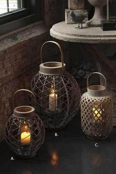 Punched Ceramic Lanterns - eclectic - candles and candle holders - Pottery Barn Hurricane Lanterns, Candle Lanterns, Hurricane Glass, Indoor Lanterns, Fire Candle, Outdoor Candles, Rustic Lanterns, Flameless Candles, Candleholders