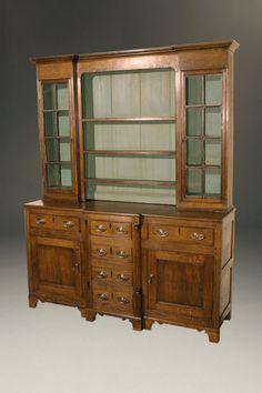 18th century English pewter cupboard in oak. Circa 1790. #antique #cupboards