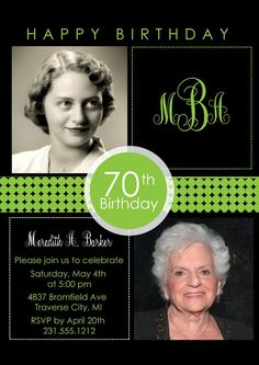 2 Photo Birthday Invitation  Adult Birthday by AnnounceItFavors
