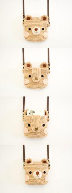 Crochet Case for Fuji Instax Camera Cute Bear by Meemanan on Etsy