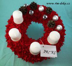 Vypichovaný látkový adventní věnec červený. Christmas Wreaths, Christmas Bulbs, Ornament Wreath, Holiday Decor, Home Decor, Decoration Home, Christmas Light Bulbs, Room Decor, Home Interior Design