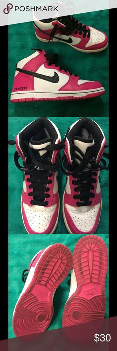 Nike shoes White, black and pink, they say Princess on the side of them Nike Shoes Sneakers