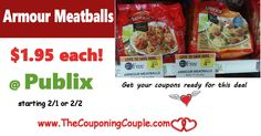 Cheap Armour Meatballs $1.95 each @ Publix starting 2/1 or 2/2. Print Now to be ready to score this great deal next week folks! *  Click the link below to get all of the details ► http://www.thecouponingcouple.com/cheap-armour-meatballs-1-each-publix/ #Coupons #Couponing #CouponCommunity  Visit us at http://www.thecouponingcouple.com for more great posts!