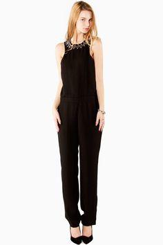 Black Sleevelss Long Jumpsuit Embellished Rhinestone Beaded Collar Open Back