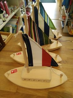 Wooden Sailboat with Striped Sail - Wooden Toys - Ava's Appletree