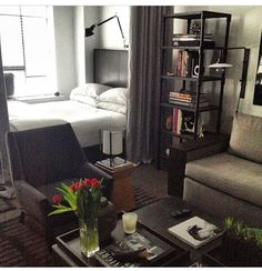 I like the set up, the vibe of the room...like the idea of using a curtain as divider instead of big bulky bookcase