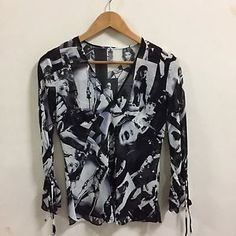 Mary Quant London Black White Silks Blouse Shirt 1960s Photo Sz M/L See Through  | eBay