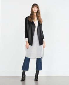 Image 1 of JACKET WITH FAUX LEATHER POINTED FRONT from Zara