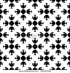 Vector monochrome geometrical texture, black and white seamless pattern in Asian style. Stylized geometric lotus flowers. Abstract repeat background. Design element for print, decoration, textile, web