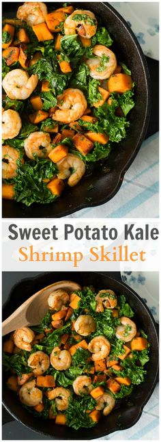 This Sweet potato Kale and Shrimp Skillet is gluten-free and healthy easy dish without scarfing in flavour!This Sweet potato Kale and Shrimp Skillet is gluten-free and healthy easy dish without scarfing in flavour! Clean Eating Recipes, Healthy Eating, Cooking Recipes, Healthy Recipes, Whole30 Recipes, Clean Eating Shrimp, Sweet Potato Recipes Healthy, Healthy Meals, Skillet Recipes