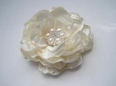 Gorgeous Ivory Shantung Satin Bridal Flower Hair Clip Bride