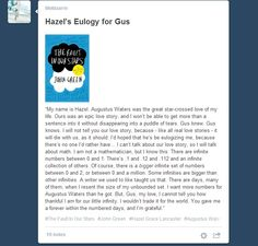 Hazel's Eulogy for Gus - The Fault in our Stars http://lifebizarre.tumblr.com/