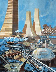 Retro-futuristic city.