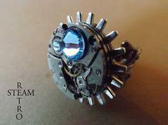 Steampunk Voltaire Aqua marine Filigree Ring  by SteamRetro, €28.00