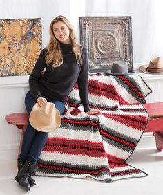 Make this one-piece striped throw in any shade that fits your home décor. It's so easy to crochet that you'll want to make more than one.