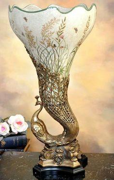 Art Nouveau Peacock Antique Vase
