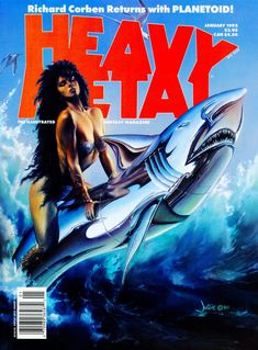 JULIE BELL (American, b. Beauty and the Steel Beast, Heavy Metal magazine cover, January 1992 Oil on - Available at 2013 Apr 11 - 12 Beverly Hills. Julie Bell, Heavy Metal Comic, Heavy Metal Art, Boris Vallejo, Metal Magazine, Magazine Art, Magazine Covers, Serpieri, Fantasy Comics