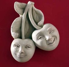 These smiling faces will be the cherry on top of your already astounding garden! The Brad & Cherrie Pit Wall Plaque is a lovingly carved wall plaque. Sculpture Clay, Garden Sculpture, Sculptures, Soft Sculpture, Outdoor Wall Art, Concrete Crafts, Clay Art, Paper Clay, Clay Projects