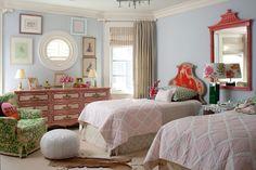 Ramey Caulkin girl's room chinois mirror, headboard, pouf, cowhide, gallery wall, green patterned armchair