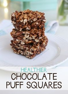Healthier Chocolate Puff Squares | I used honey and almond butter. Added some chia seeds, a pinch of salt and a tbsp of strong brewed coffee. So good!