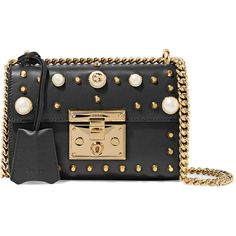 Gucci Padlock small faux pearl-embellished studded leather shoulder... (30.514.250 IDR) ❤ liked on Polyvore featuring bags, handbags, shoulder bags, black, studded purse, cell phone shoulder bag, locking purse, studded leather purse and kiss-lock handbags