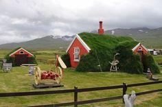 Green isolation in Bakkargerdi, Iceland.