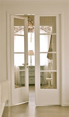 I would like to do a french door on the office door to let light in and not have to worry about it being open all the time. I would like to do a french door on the office door to let light in and not have to worry about it being open all the time. French Doors Bedroom, Bedroom Doors, Bedroom Closets, Door Design, House Design, Glass French Doors, Narrow French Doors, French Doors Inside, Inside Doors