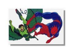 Original 1994 Amazing Spider-man animated tv series cartoon promotional cel: 1990's Marvel Comics Spiderman vs movie foe Vulture promo cell
