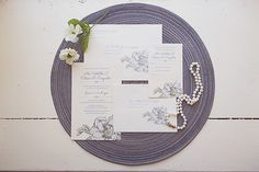 blue and white invitations handmade by the bride | Brigham & Co. | Glamour & Grace