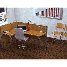 Bestar Pro-Biz Office System Single Left L-Desk Workstation, 3/4 Wall, Cappuccino Cherry