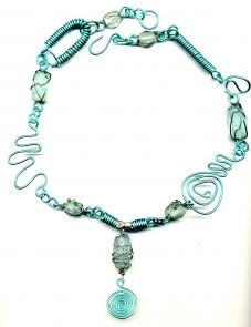 Coiled turquoise wire and sea glass