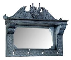 Dragon Decor Mantle Shelf Wall Mirror with Hooks