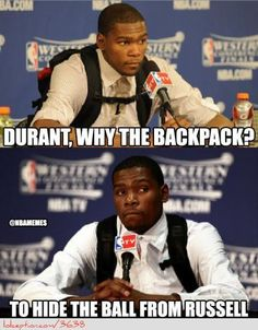 The reason behind Kevin Durant's Backpack! - http://weheartnyknicks.com/nba-funny-meme/the-reason-behind-kevin-durants-backpack