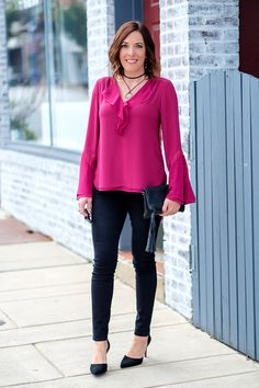 Fall Date Night Outfit: Ruffle Blouse   Black Jeans
