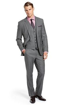 'The James/Sharp' | Modern Fit, Virgin Wool 3-Piece Suit, Medium Grey by Hugo Boss