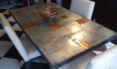 Copper & Zinc Dining Table - Rustic and Modern Riveted Steampunk Style Mixed Metals Artisan Table Copper Top Table, Zinc Table, Copper Bar, Copper Metal, Steampunk Furniture, Industrial Furniture, Steampunk Kitchen, Aviation Furniture, Diy Table Top