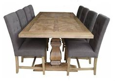 Rustic Recycled Elm Wood French Rustic Pedestal Dining Table 200 cm L x 10 Seater Dining Table, Narrow Dining Tables, Dinning Table, Dining Rooms, Recycled Furniture, Unique Furniture, Table Furniture, Kitchen Furniture, Furniture Ideas
