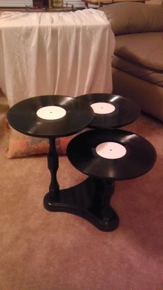 3 Tiered Vinyl Record Album Side Table by hARTzWORK