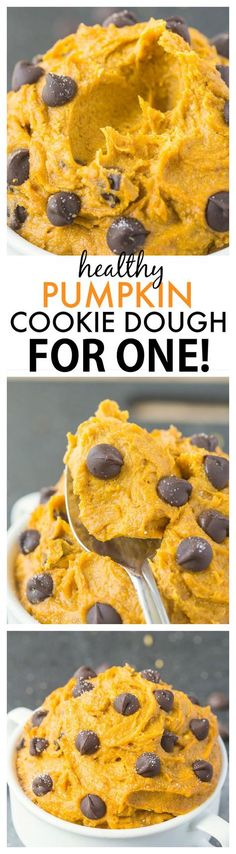 Healthy Pumpkin Cookie Dough for ONE- You'd never believe this creamy, texture perfect treat is packed full of fiber, protein and VERY low in sugar- It takes less than five minutes to whip up! {vegan, gluten-free, paleo option} - http://thebigmansworld.com