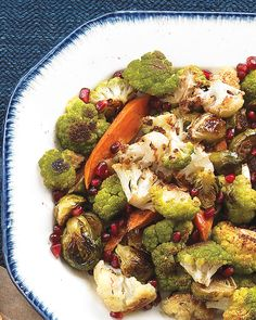 Roasted Vegetables with Pomegranate Vinaigrette | Martha Stewart Living - The natural sweetness of vegetables comes out when they're roasted. Tossing them with a tangy pomegranate dressing further enhances the sweet, toasty flavors.