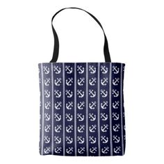 #fishing - #Nautical stripes with anchors tote bag